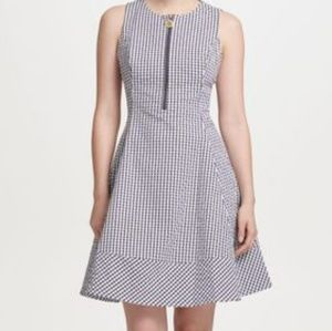 Dkny fit and flare zip front plaid dress size 12